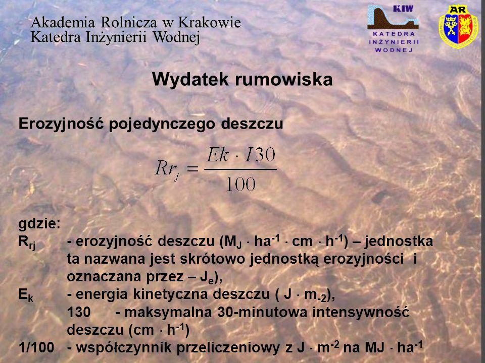 Wydatek rumowiska Akademia Rolnicza w Krakowie Katedra Inżynierii Wodnej Erozyjność pojedynczego deszczu gdzie: R rj - erozyjność deszczu (M J  ha -1