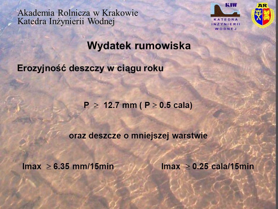 Wydatek rumowiska Akademia Rolnicza w Krakowie Katedra Inżynierii Wodnej P  12.7 mm( P  0.5 cala) oraz deszcze o mniejszej warstwie Imax  6.35 mm/1