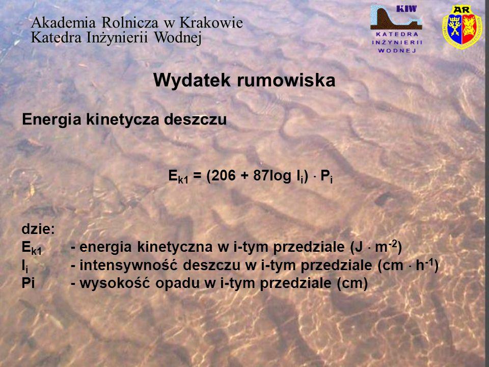 Wydatek rumowiska Akademia Rolnicza w Krakowie Katedra Inżynierii Wodnej Energia kinetycza deszczu E k1 = (206 + 87log I i )  P i dzie: E k1 - energi