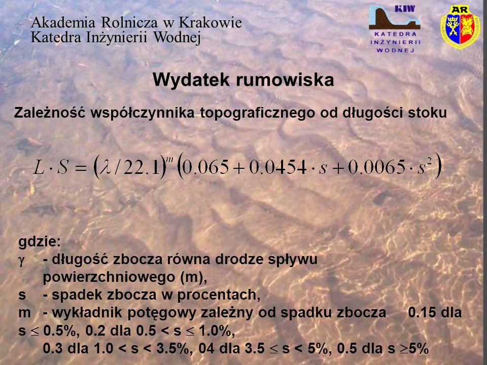 Wydatek rumowiska Akademia Rolnicza w Krakowie Katedra Inżynierii Wodnej Zależność współczynnika topograficznego od długości stoku gdzie:  - długość