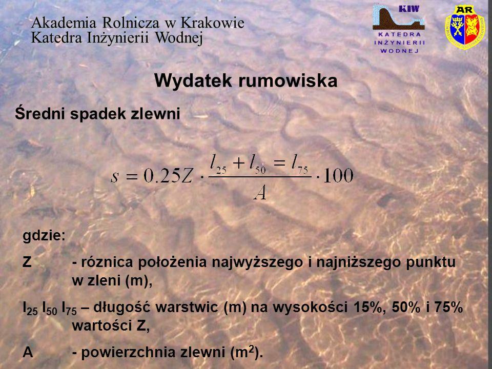Wydatek rumowiska Akademia Rolnicza w Krakowie Katedra Inżynierii Wodnej Średni spadek zlewni gdzie: Z- róznica położenia najwyższego i najniższego pu