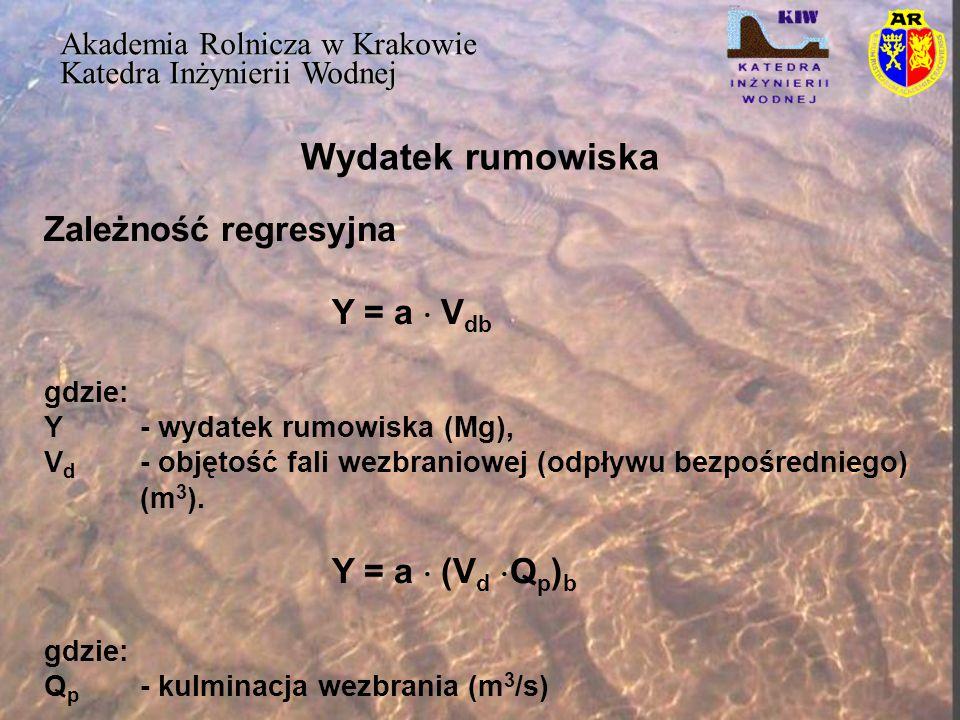 Wydatek rumowiska Akademia Rolnicza w Krakowie Katedra Inżynierii Wodnej Zależność regresyjna Y = a  V db gdzie: Y- wydatek rumowiska (Mg), V d - obj