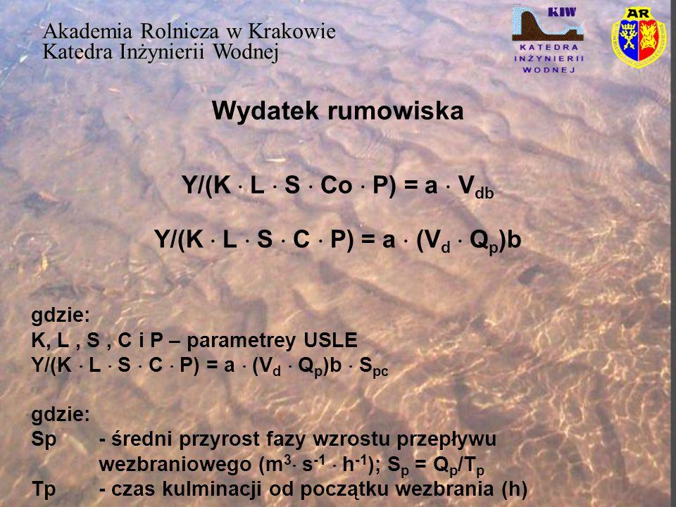 Wydatek rumowiska Akademia Rolnicza w Krakowie Katedra Inżynierii Wodnej Y/(K  L  S  Co  P) = a  V db Y/(K  L  S  C  P) = a  (V d  Q p )b g