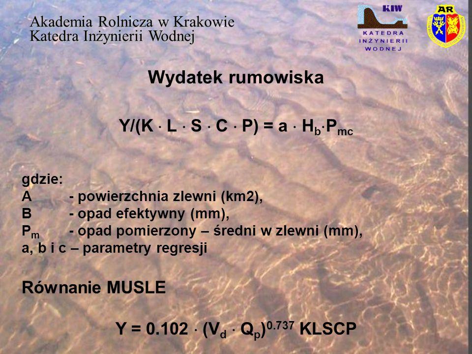 Wydatek rumowiska Akademia Rolnicza w Krakowie Katedra Inżynierii Wodnej Y/(K  L  S  C  P) = a  H b  P mc gdzie: A- powierzchnia zlewni (km2), B