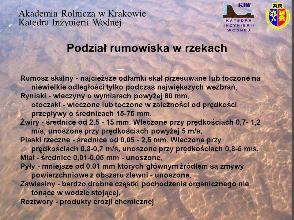 Podział rumowiska w rzekach Akademia Rolnicza w Krakowie Katedra Inżynierii Wodnej Rumosz skalny - najcięższe odłamki skał przesuwane lub toczone na n