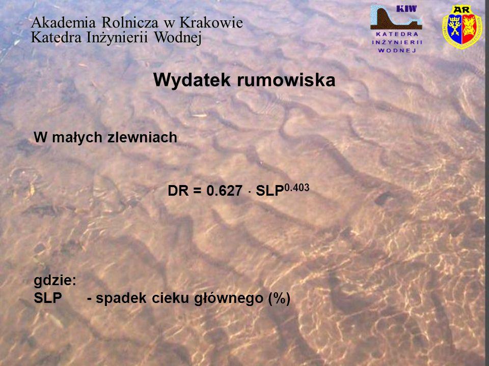 Wydatek rumowiska Akademia Rolnicza w Krakowie Katedra Inżynierii Wodnej W małych zlewniach DR = 0.627  SLP 0.403 gdzie: SLP - spadek cieku głównego