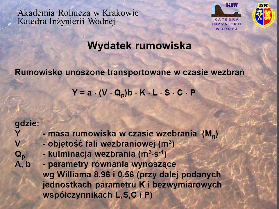 Wydatek rumowiska Akademia Rolnicza w Krakowie Katedra Inżynierii Wodnej Y/(K  L  S  Co  P) = a  V db Y/(K  L  S  C  P) = a  (V d  Q p )b gdzie: K, L, S, C i P – parametrey USLE Y/(K  L  S  C  P) = a  (V d  Q p )b  S pc gdzie: Sp- średni przyrost fazy wzrostu przepływu wezbraniowego (m 3  s -1  h -1 ); S p = Q p /T p Tp- czas kulminacji od początku wezbrania (h)