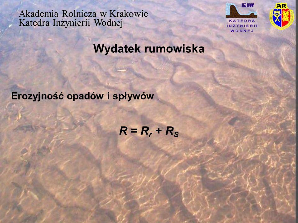 Wydatek rumowiska Akademia Rolnicza w Krakowie Katedra Inżynierii Wodnej Erozyjność pojedynczego deszczu gdzie: R rj - erozyjność deszczu (M J  ha -1  cm  h -1 ) – jednostka ta nazwana jest skrótowo jednostką erozyjności i oznaczana przez – J e ), E k - energia kinetyczna deszczu ( J  m -2 ), 130- maksymalna 30-minutowa intensywność deszczu (cm  h -1 ) 1/100- współczynnik przeliczeniowy z J  m -2 na MJ  ha -1