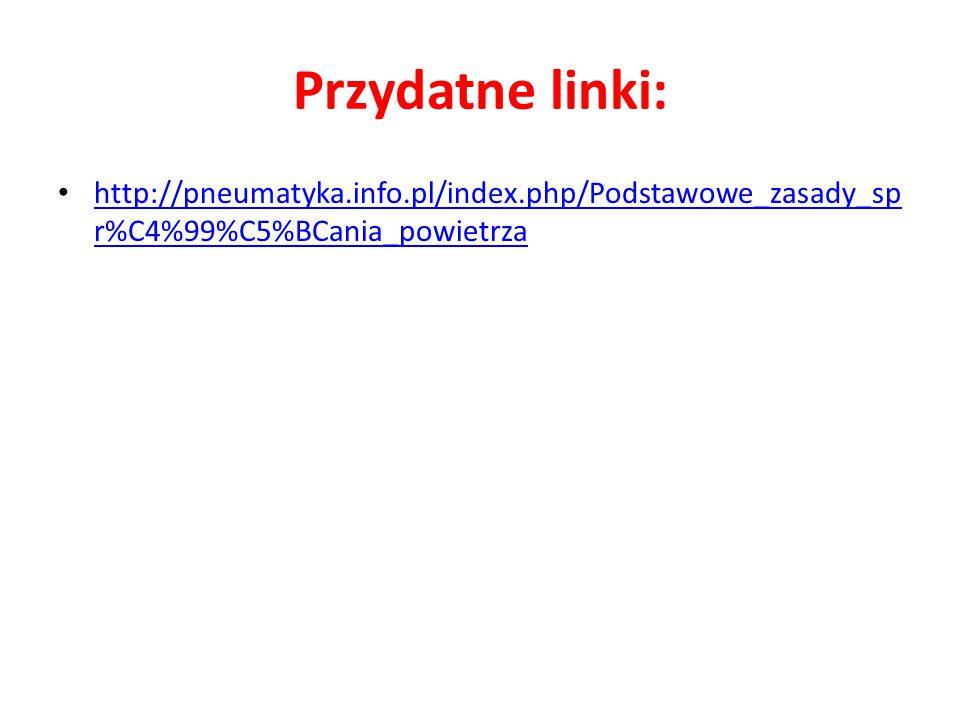 Przydatne linki: http://pneumatyka.info.pl/index.php/Podstawowe_zasady_sp r%C4%99%C5%BCania_powietrza http://pneumatyka.info.pl/index.php/Podstawowe_z