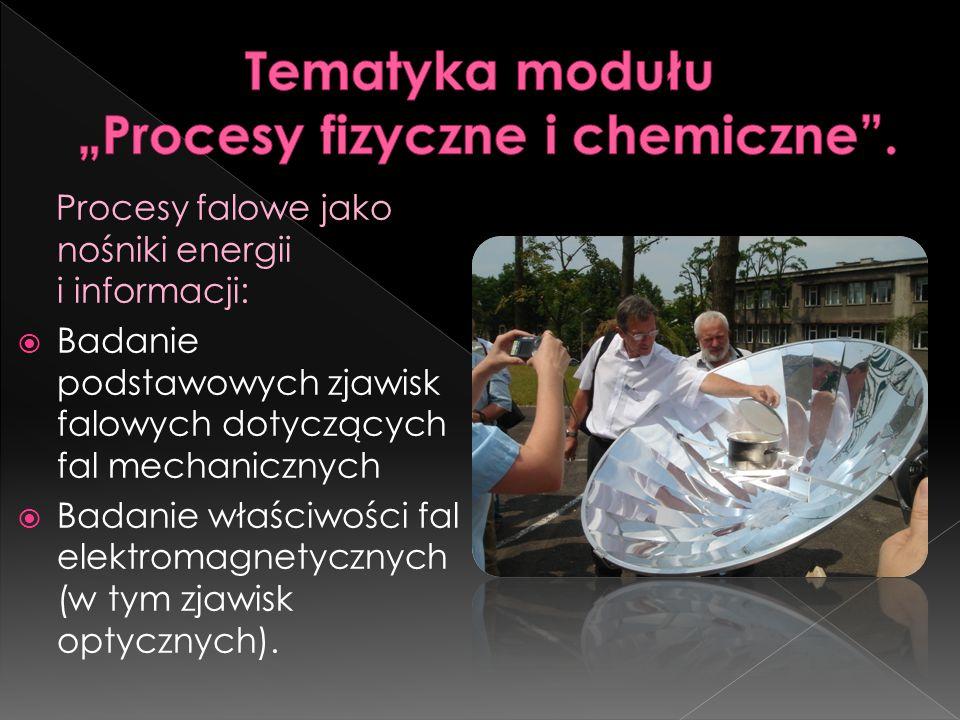 Procesy falowe jako nośniki energii i informacji:  Badanie podstawowych zjawisk falowych dotyczących fal mechanicznych  Badanie właściwości fal elektromagnetycznych (w tym zjawisk optycznych).