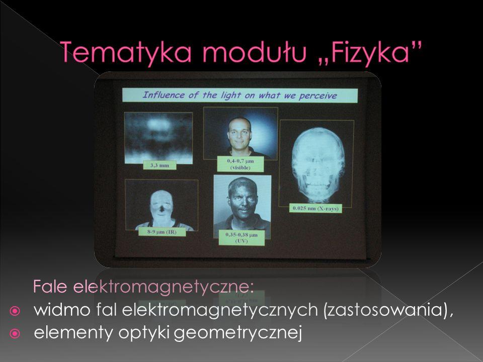 Fale elektromagnetyczne:  widmo fal elektromagnetycznych (zastosowania),  elementy optyki geometrycznej