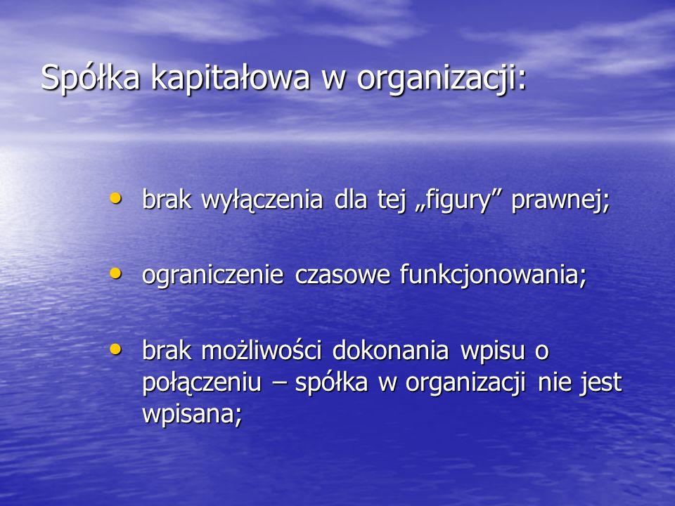 """Spółka kapitałowa w organizacji: brak wyłączenia dla tej """"figury"""" prawnej; brak wyłączenia dla tej """"figury"""" prawnej; ograniczenie czasowe funkcjonowan"""