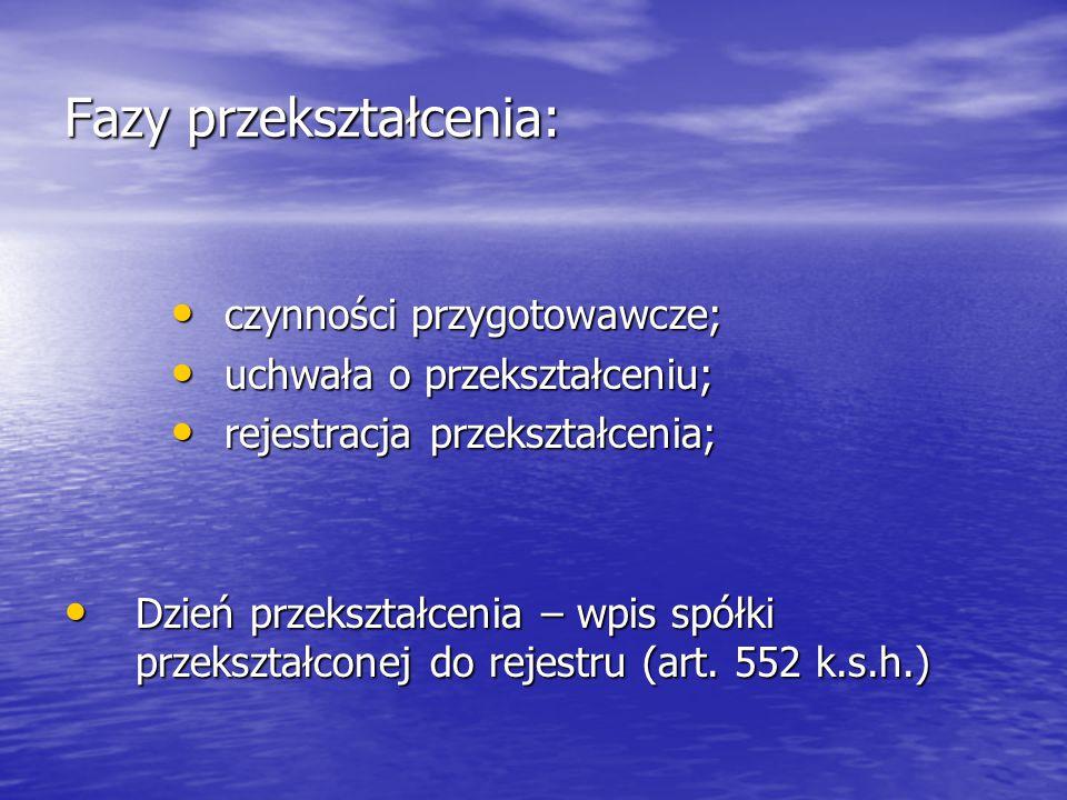 Fazy przekształcenia: czynności przygotowawcze; czynności przygotowawcze; uchwała o przekształceniu; uchwała o przekształceniu; rejestracja przekształcenia; rejestracja przekształcenia; Dzień przekształcenia – wpis spółki przekształconej do rejestru (art.