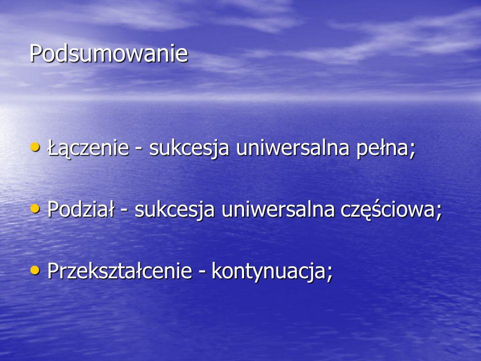 Podsumowanie Łączenie - sukcesja uniwersalna pełna; Łączenie - sukcesja uniwersalna pełna; Podział - sukcesja uniwersalna częściowa; Podział - sukcesja uniwersalna częściowa; Przekształcenie - kontynuacja; Przekształcenie - kontynuacja;