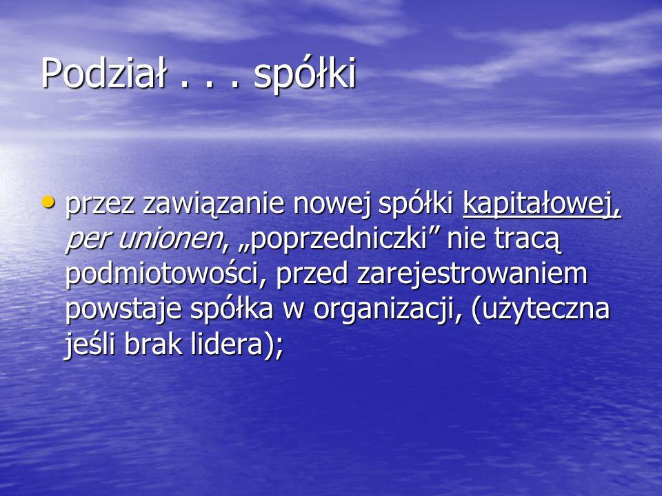 Podział...spółki – rodzaje: Udziały, akcje → 1. Przez przejęcie – na istniejące spółki; 2.