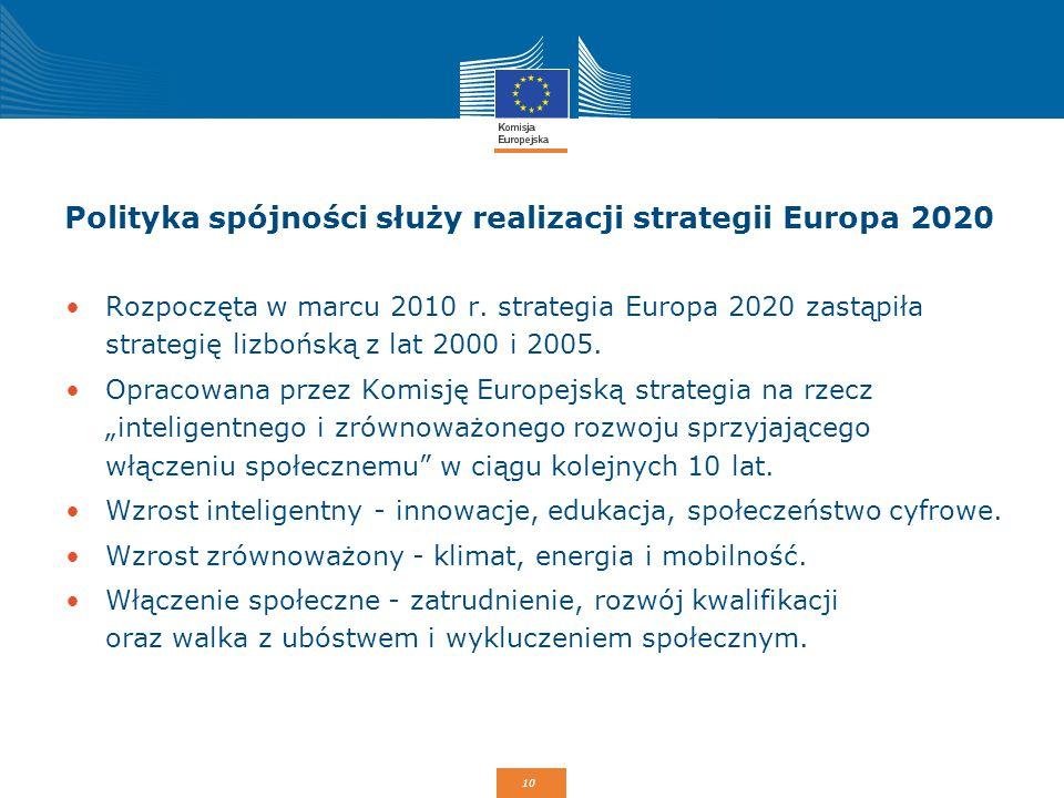10 Polityka spójności służy realizacji strategii Europa 2020 Rozpoczęta w marcu 2010 r. strategia Europa 2020 zastąpiła strategię lizbońską z lat 2000