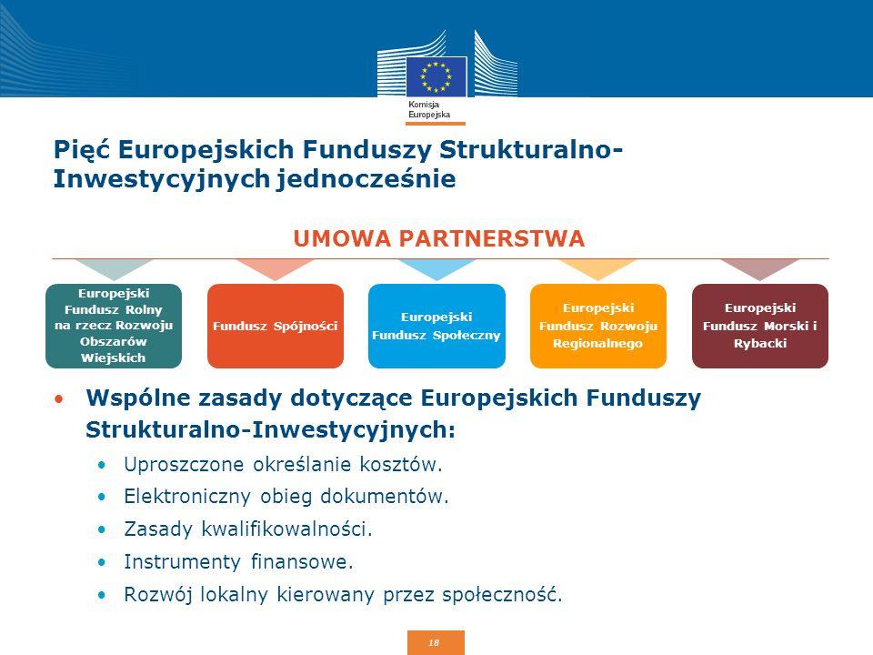 18 Pięć Europejskich Funduszy Strukturalno- Inwestycyjnych jednocześnie Wspólne zasady dotyczące Europejskich Funduszy Strukturalno-Inwestycyjnych: Up