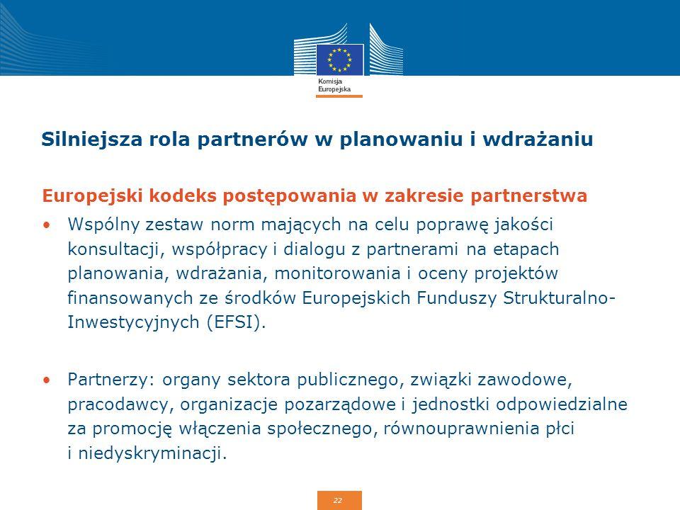 22 Silniejsza rola partnerów w planowaniu i wdrażaniu Europejski kodeks postępowania w zakresie partnerstwa Wspólny zestaw norm mających na celu popra