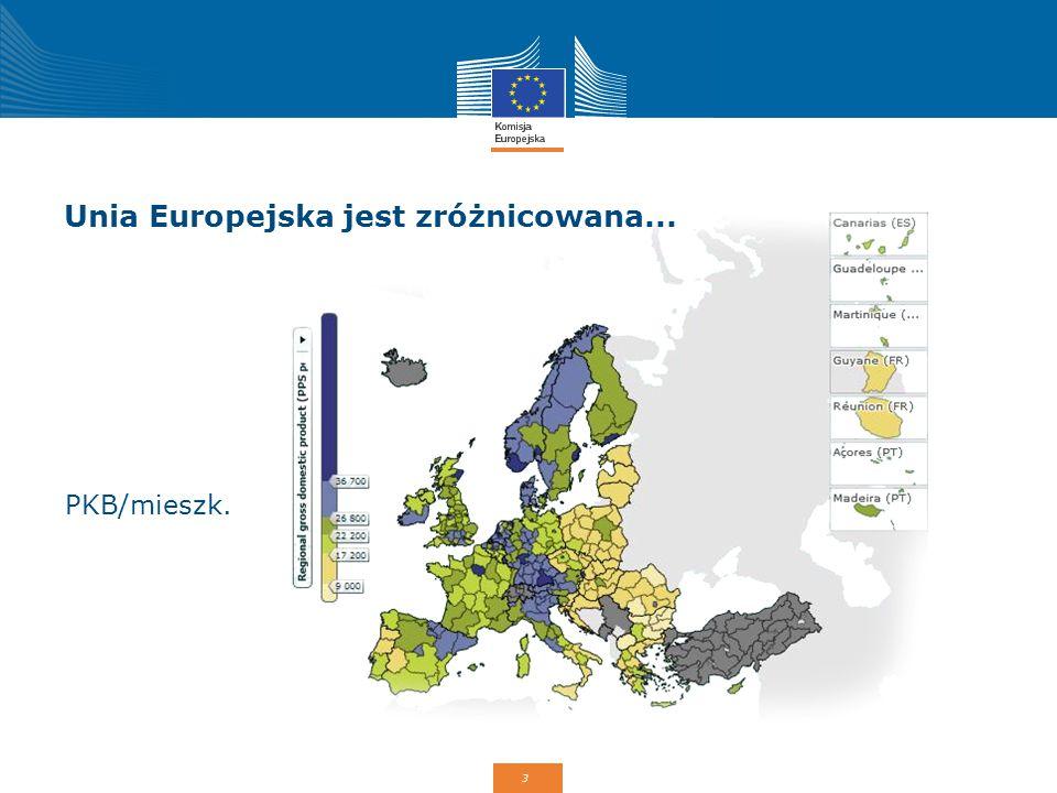 3 Unia Europejska jest zróżnicowana... PKB/mieszk.