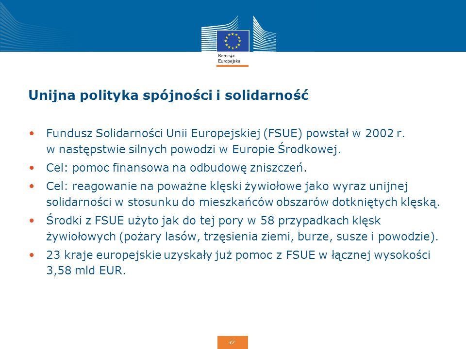 37 Unijna polityka spójności i solidarność Fundusz Solidarności Unii Europejskiej (FSUE) powstał w 2002 r. w następstwie silnych powodzi w Europie Śro