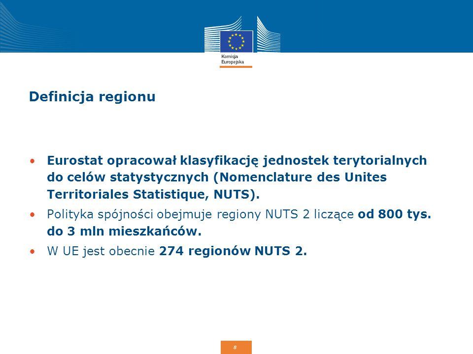8 Definicja regionu Eurostat opracował klasyfikację jednostek terytorialnych do celów statystycznych (Nomenclature des Unites Territoriales Statistiqu