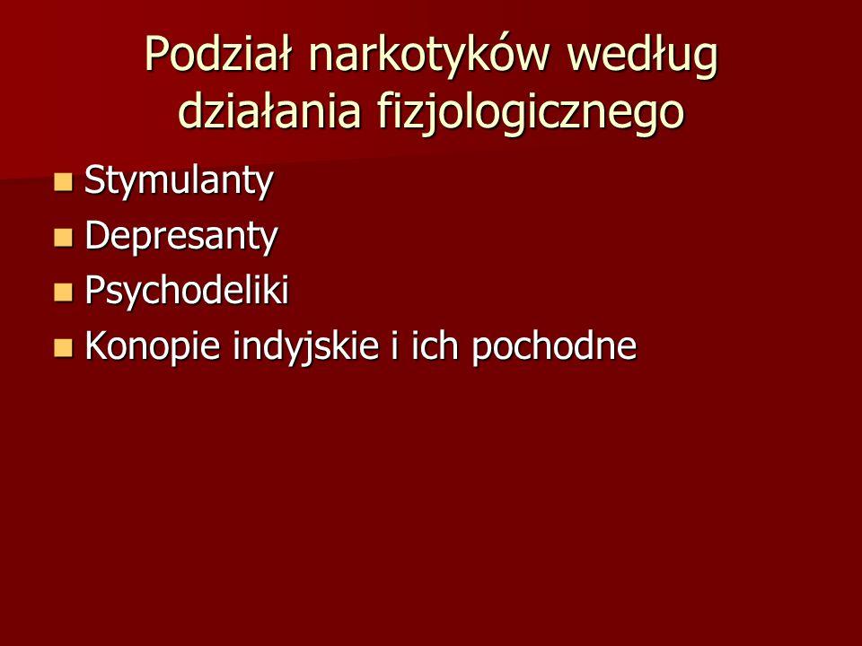 Podział narkotyków według działania fizjologicznego Stymulanty Stymulanty Depresanty Depresanty Psychodeliki Psychodeliki Konopie indyjskie i ich pochodne Konopie indyjskie i ich pochodne