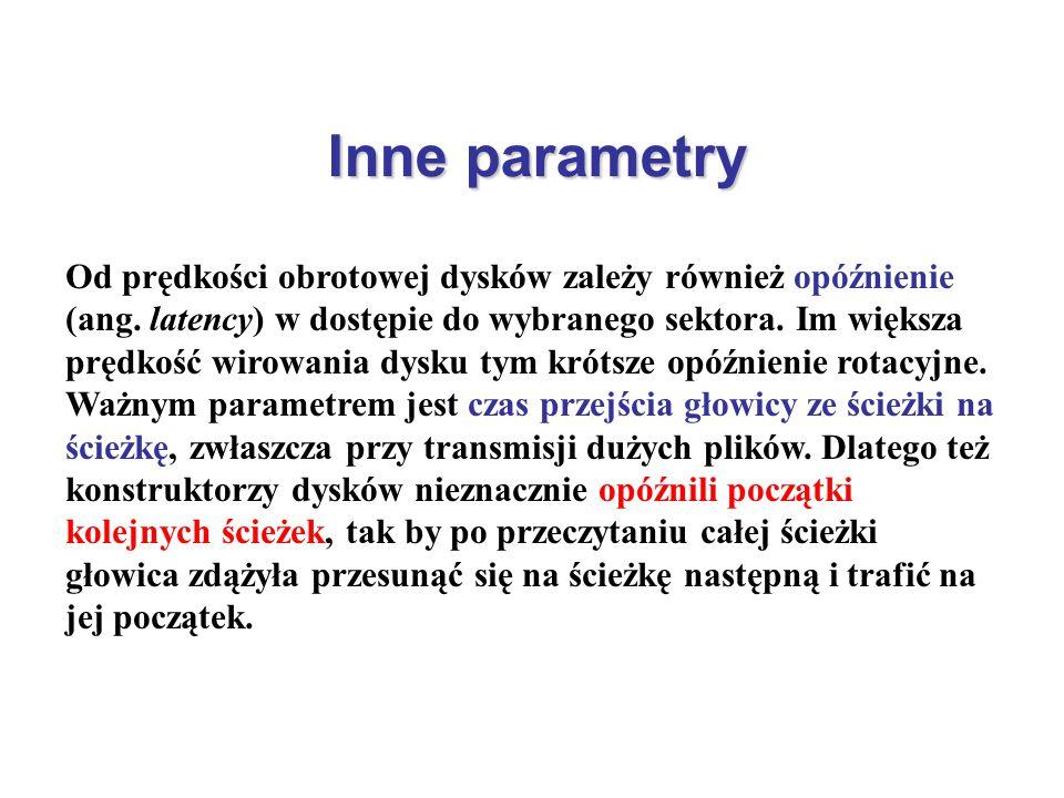 Inne parametry Od prędkości obrotowej dysków zależy również opóźnienie (ang. latency) w dostępie do wybranego sektora. Im większa prędkość wirowania d