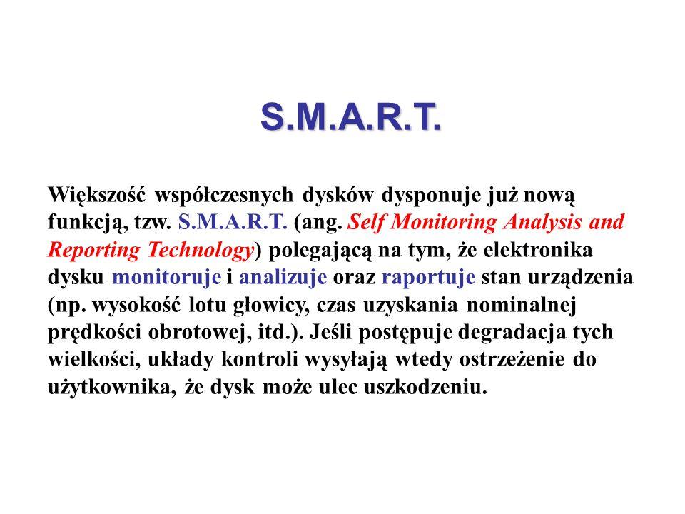 S.M.A.R.T. Większość współczesnych dysków dysponuje już nową funkcją, tzw. S.M.A.R.T. (ang. Self Monitoring Analysis and Reporting Technology) polegaj