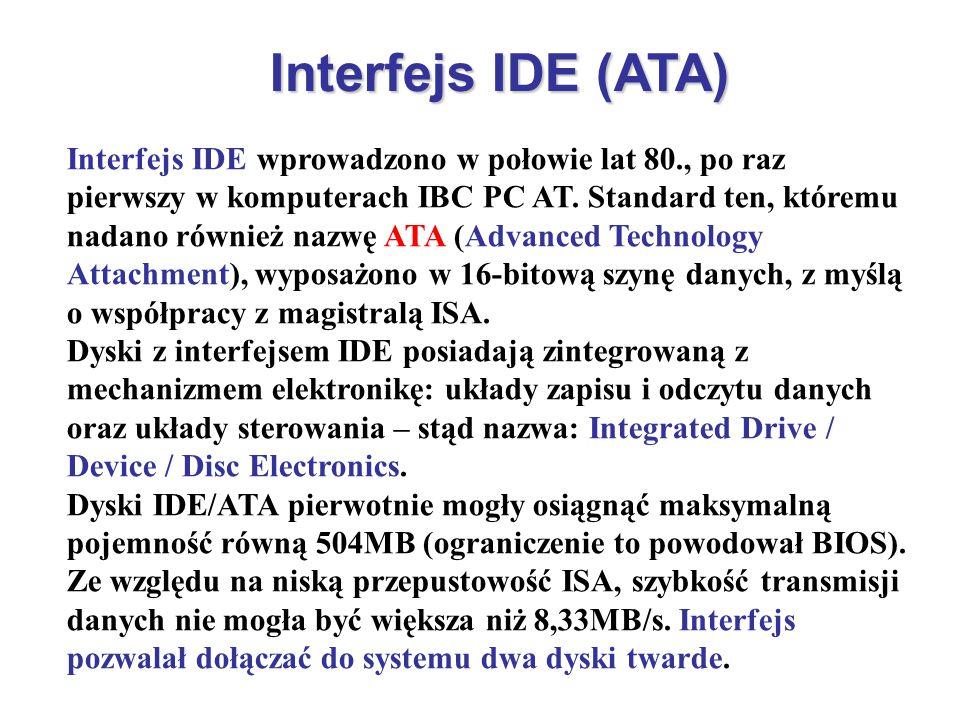 Interfejs IDE (ATA) Interfejs IDE wprowadzono w połowie lat 80., po raz pierwszy w komputerach IBC PC AT. Standard ten, któremu nadano również nazwę A