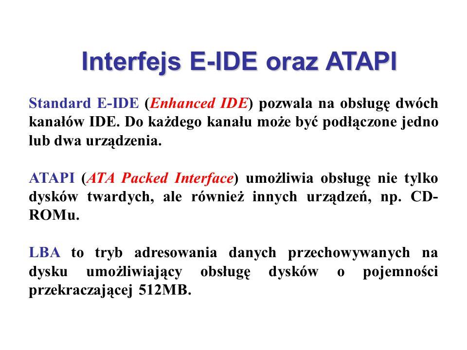 Interfejs E-IDE oraz ATAPI Standard E-IDE (Enhanced IDE) pozwala na obsługę dwóch kanałów IDE. Do każdego kanału może być podłączone jedno lub dwa urz