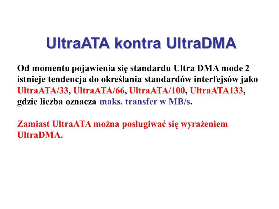 UltraATA kontra UltraDMA Od momentu pojawienia się standardu Ultra DMA mode 2 istnieje tendencja do określania standardów interfejsów jako UltraATA/33