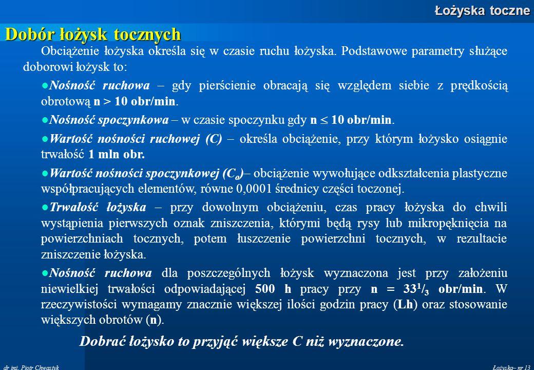 Łożyska– nr 13 Łożyska toczne dr inż. Piotr Chwastyk Dobór łożysk tocznych Obciążenie łożyska określa się w czasie ruchu łożyska. Podstawowe parametry