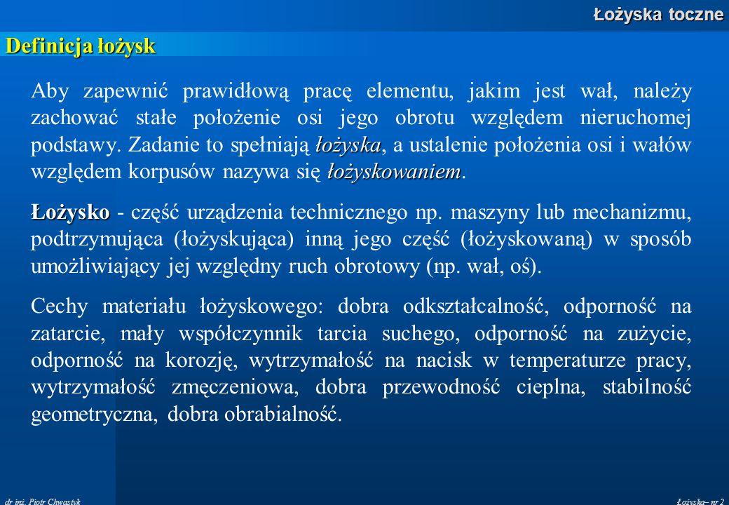 Łożyska– nr 2 Łożyska toczne dr inż. Piotr Chwastyk Definicja łożysk łożyska łożyskowaniem Aby zapewnić prawidłową pracę elementu, jakim jest wał, nal