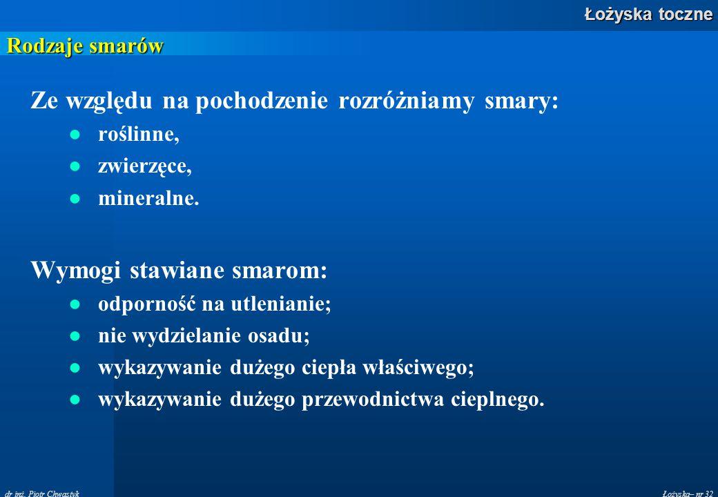 Łożyska– nr 32 Łożyska toczne dr inż. Piotr Chwastyk Rodzaje smarów Ze względu na pochodzenie rozróżniamy smary: ●roślinne, ●zwierzęce, ●mineralne. Wy