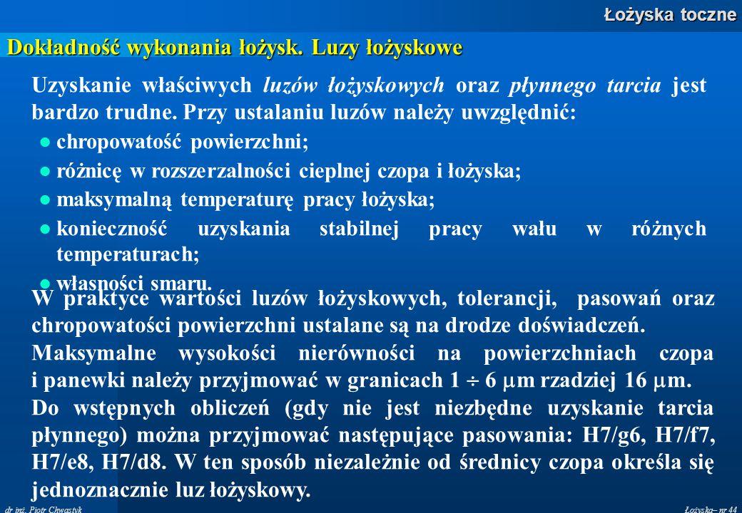 Łożyska– nr 44 Łożyska toczne dr inż. Piotr Chwastyk Dokładność wykonania łożysk. Luzy łożyskowe Uzyskanie właściwych luzów łożyskowych oraz płynnego