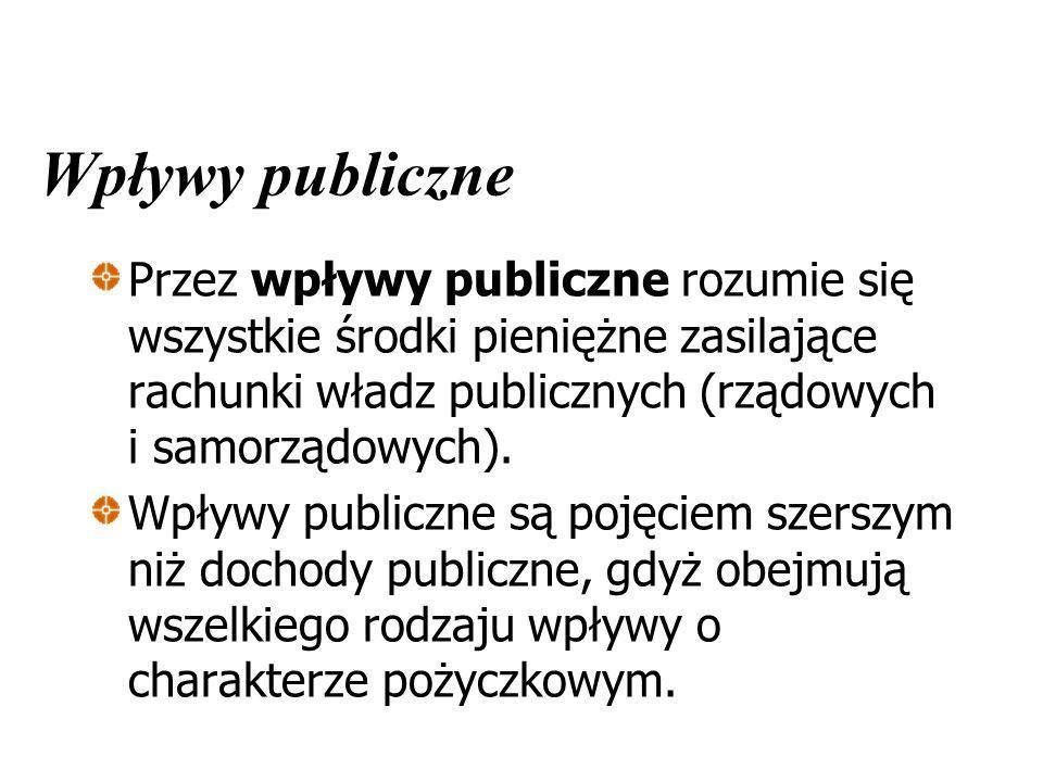 Wpływy publiczne Przez wpływy publiczne rozumie się wszystkie środki pieniężne zasilające rachunki władz publicznych (rządowych i samorządowych). Wpły