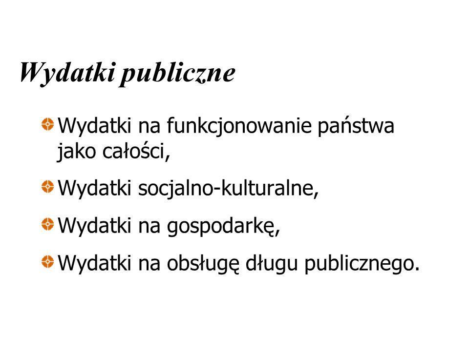 Wydatki publiczne Wydatki na funkcjonowanie państwa jako całości, Wydatki socjalno-kulturalne, Wydatki na gospodarkę, Wydatki na obsługę długu publicz