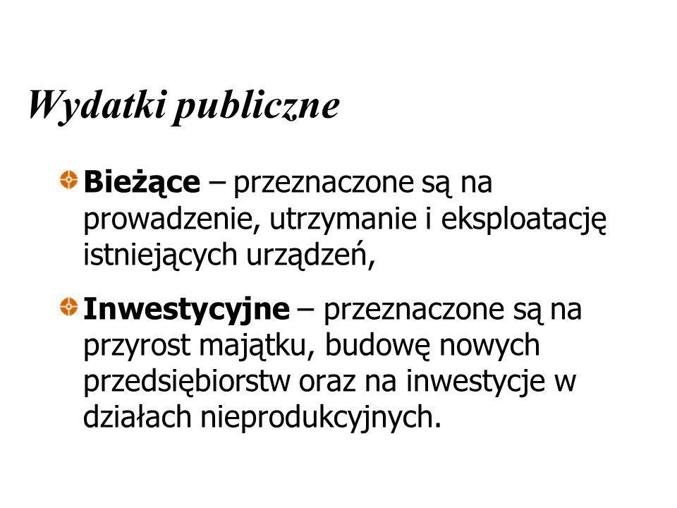 Wydatki publiczne Bieżące – przeznaczone są na prowadzenie, utrzymanie i eksploatację istniejących urządzeń, Inwestycyjne – przeznaczone są na przyros
