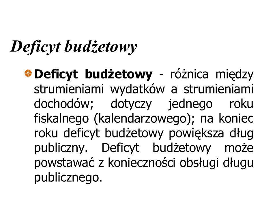 Deficyt budżetowy Deficyt budżetowy - różnica między strumieniami wydatków a strumieniami dochodów; dotyczy jednego roku fiskalnego (kalendarzowego);