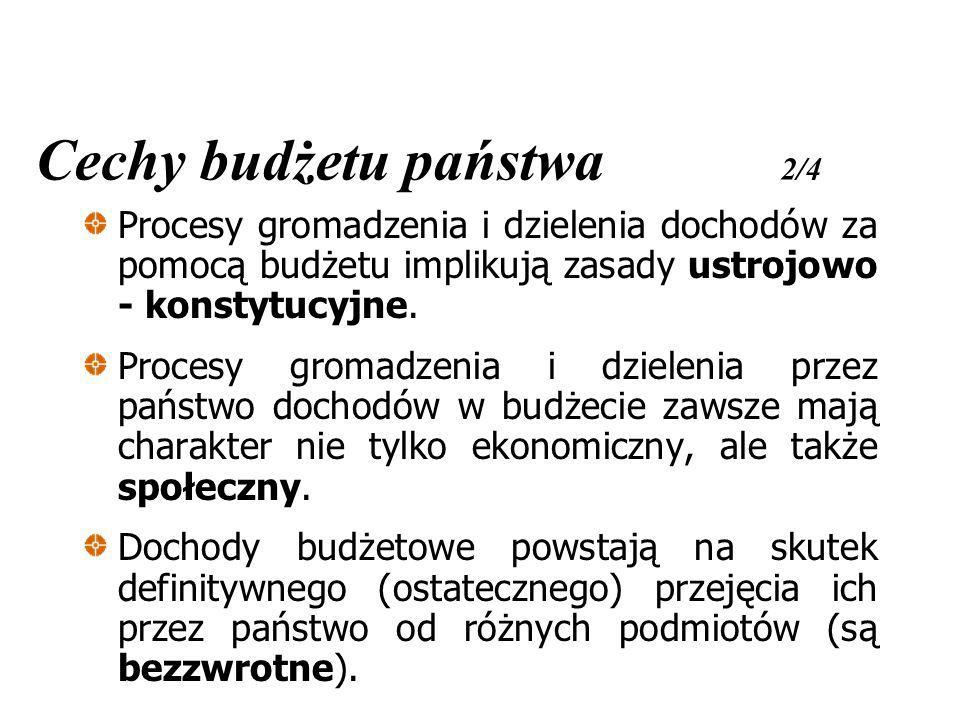 Cechy budżetu państwa 2/4 Procesy gromadzenia i dzielenia dochodów za pomocą budżetu implikują zasady ustrojowo - konstytucyjne. Procesy gromadzenia i
