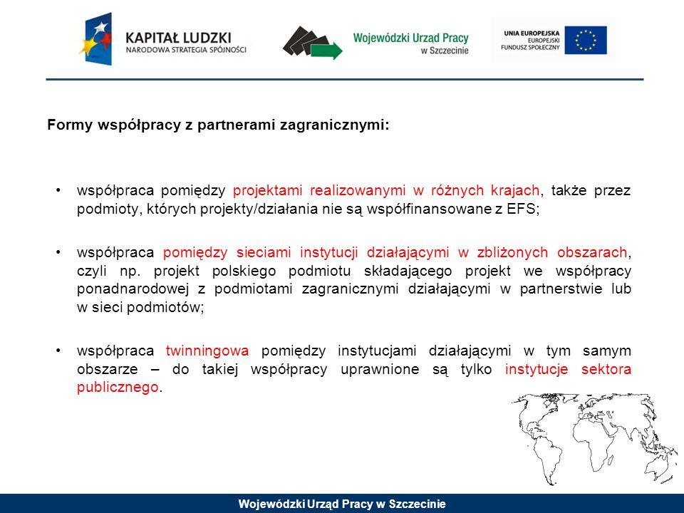 Wojewódzki Urząd Pracy w Szczecinie Formy współpracy z partnerami zagranicznymi: współpraca pomiędzy projektami realizowanymi w różnych krajach, także przez podmioty, których projekty/działania nie są współfinansowane z EFS; współpraca pomiędzy sieciami instytucji działającymi w zbliżonych obszarach, czyli np.