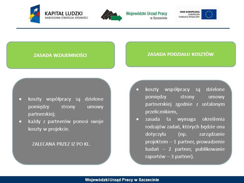 Wojewódzki Urząd Pracy w Szczecinie  koszty współpracy są dzielone pomiędzy strony umowy partnerskiej zgodnie z ustalonym przelicznikiem,  zasada ta wymaga określenia rodzajów zadań, których będzie ona dotyczyła (np.
