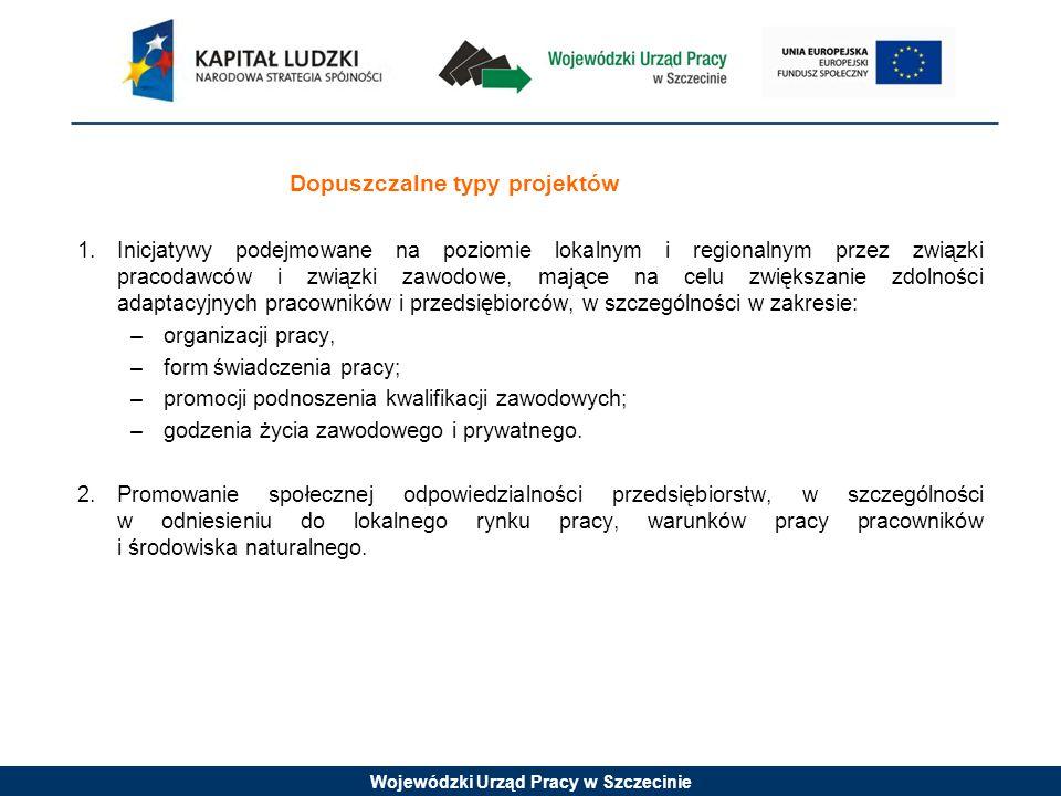 Wojewódzki Urząd Pracy w Szczecinie Dopuszczalne typy projektów 1.Inicjatywy podejmowane na poziomie lokalnym i regionalnym przez związki pracodawców i związki zawodowe, mające na celu zwiększanie zdolności adaptacyjnych pracowników i przedsiębiorców, w szczególności w zakresie: –organizacji pracy, –form świadczenia pracy; –promocji podnoszenia kwalifikacji zawodowych; –godzenia życia zawodowego i prywatnego.