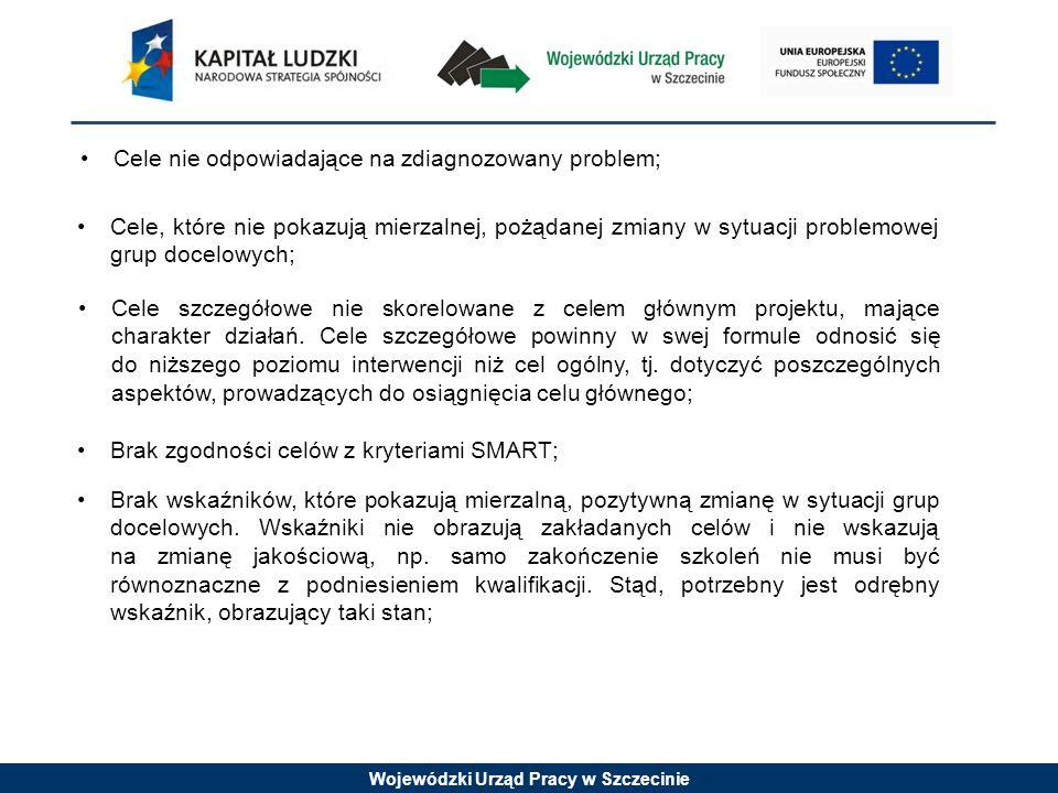 Wojewódzki Urząd Pracy w Szczecinie Cele nie odpowiadające na zdiagnozowany problem; Cele, które nie pokazują mierzalnej, pożądanej zmiany w sytuacji problemowej grup docelowych; Cele szczegółowe nie skorelowane z celem głównym projektu, mające charakter działań.