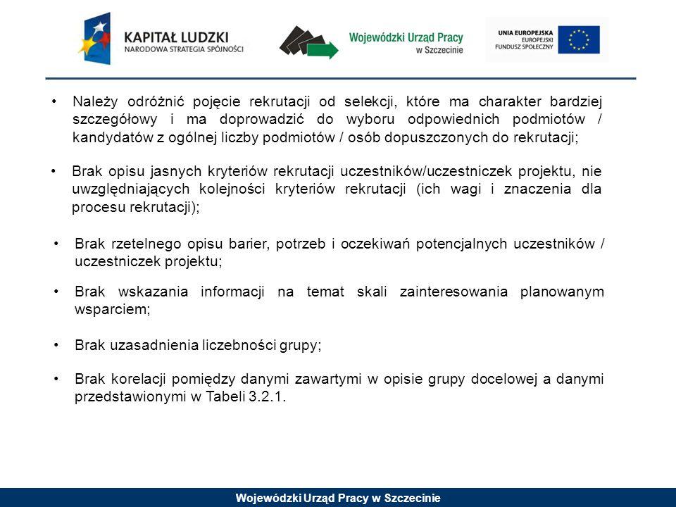 Wojewódzki Urząd Pracy w Szczecinie Należy odróżnić pojęcie rekrutacji od selekcji, które ma charakter bardziej szczegółowy i ma doprowadzić do wyboru odpowiednich podmiotów / kandydatów z ogólnej liczby podmiotów / osób dopuszczonych do rekrutacji; Brak opisu jasnych kryteriów rekrutacji uczestników/uczestniczek projektu, nie uwzględniających kolejności kryteriów rekrutacji (ich wagi i znaczenia dla procesu rekrutacji); Brak rzetelnego opisu barier, potrzeb i oczekiwań potencjalnych uczestników / uczestniczek projektu; Brak wskazania informacji na temat skali zainteresowania planowanym wsparciem; Brak uzasadnienia liczebności grupy; Brak korelacji pomiędzy danymi zawartymi w opisie grupy docelowej a danymi przedstawionymi w Tabeli 3.2.1.