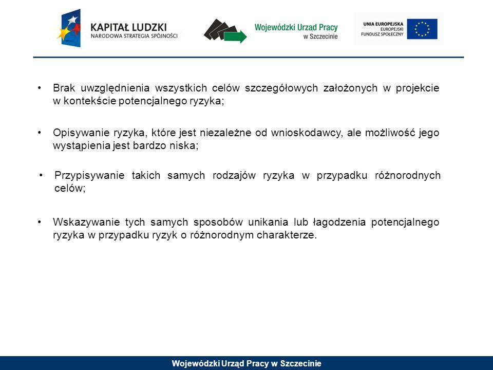 Wojewódzki Urząd Pracy w Szczecinie Brak uwzględnienia wszystkich celów szczegółowych założonych w projekcie w kontekście potencjalnego ryzyka; Opisywanie ryzyka, które jest niezależne od wnioskodawcy, ale możliwość jego wystąpienia jest bardzo niska; Przypisywanie takich samych rodzajów ryzyka w przypadku różnorodnych celów; Wskazywanie tych samych sposobów unikania lub łagodzenia potencjalnego ryzyka w przypadku ryzyk o różnorodnym charakterze.