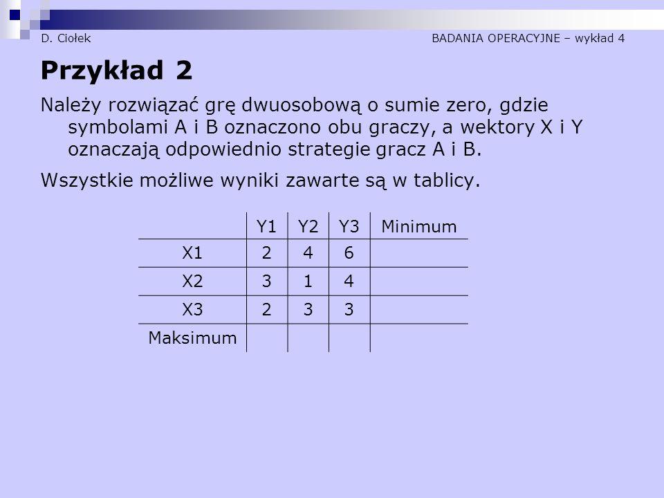 D. Ciołek BADANIA OPERACYJNE – wykład 4 Przykład 2 Należy rozwiązać grę dwuosobową o sumie zero, gdzie symbolami A i B oznaczono obu graczy, a wektory