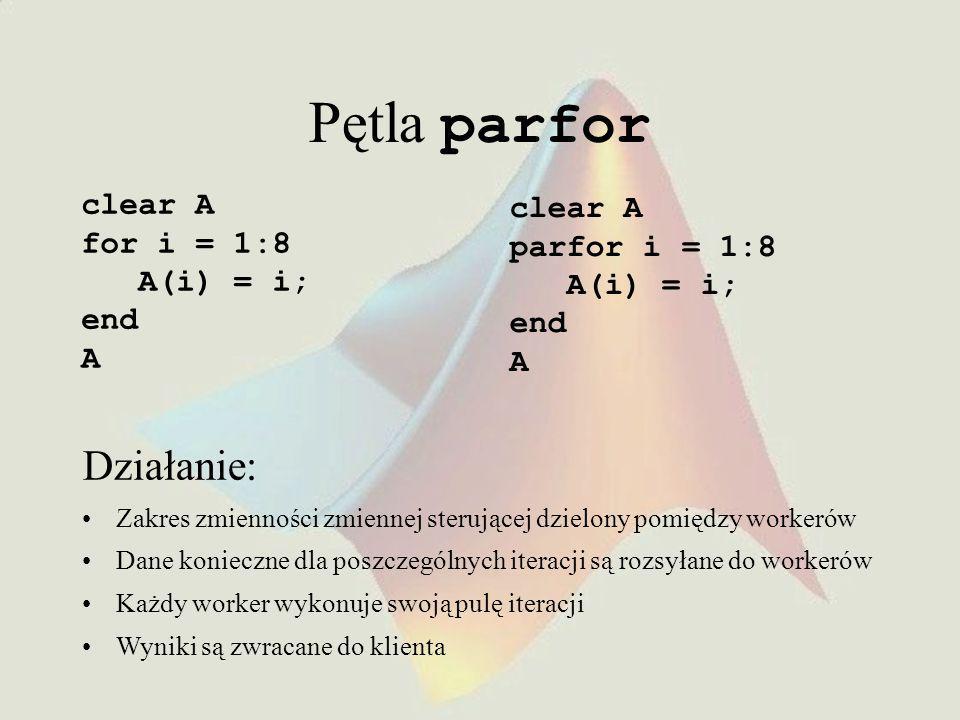 Pętla parfor clear A for i = 1:8 A(i) = i; end A Działanie: Zakres zmienności zmiennej sterującej dzielony pomiędzy workerów Dane konieczne dla poszczególnych iteracji są rozsyłane do workerów Każdy worker wykonuje swoją pulę iteracji Wyniki są zwracane do klienta clear A parfor i = 1:8 A(i) = i; end A