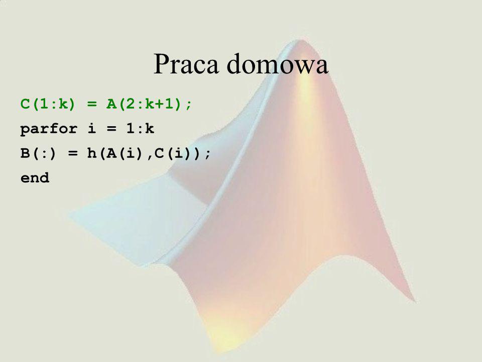 Praca domowa C(1:k) = A(2:k+1); parfor i = 1:k B(:) = h(A(i),C(i)); end