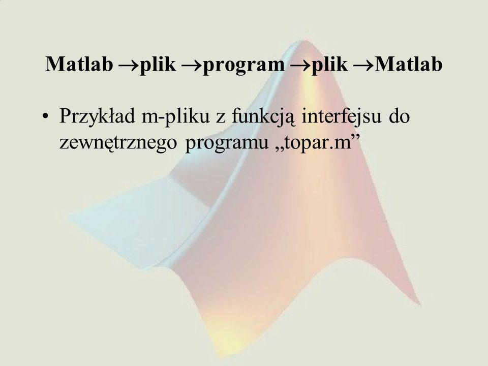 """Matlab  plik  program  plik  Matlab Przykład m-pliku z funkcją interfejsu do zewnętrznego programu """"topar.m"""""""